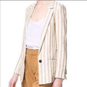 Zara striped linen blazer